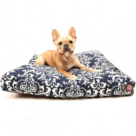 Splendid Pet Products French District Rectangle Pet Bed, Navy Blue