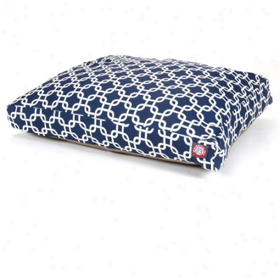Majestic Pet Products Links Rectangle Pet Bed, Navy Blue