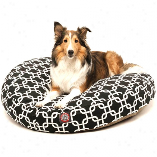 Majestoc Pet Products Links Round Pet Bed, Black