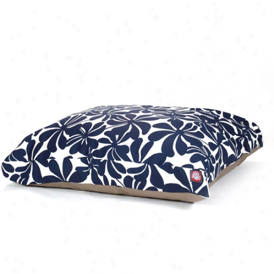 Majestic Pet Products Plangation Rectangle Pet Bed, Navy Blue