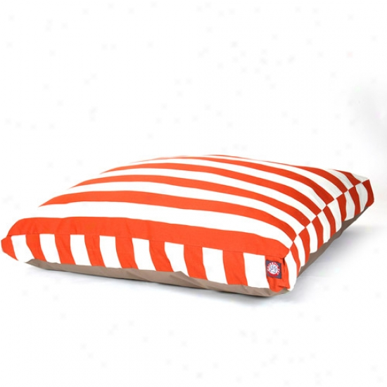 Majestic Pet Products Perpendicular Stripe Rectangle Pet Bed, Burnt Orange