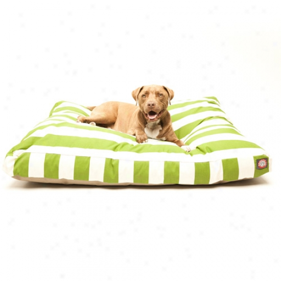Majestic Pet Products Vertical Stripe Rectangle Pet Bed, Sage