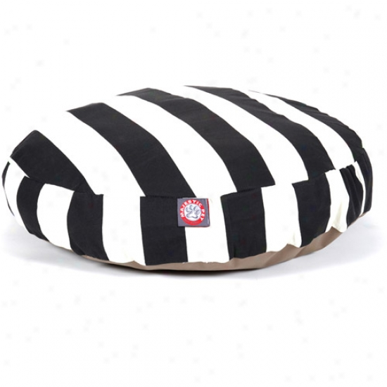 Majestic Pet Products Vertical Stripe Round Pet Bed, Black