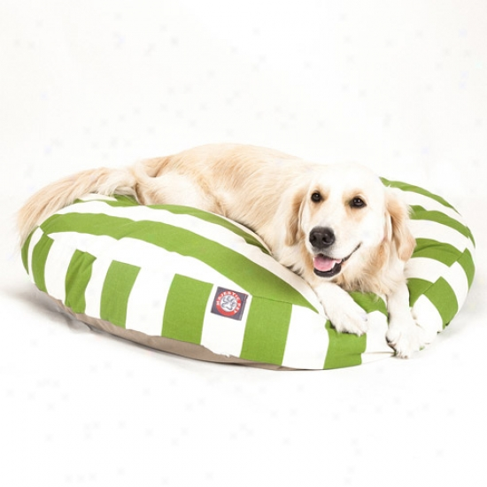 Majestic Pet Products Vertical Stripe Round Pet Bed, Sage