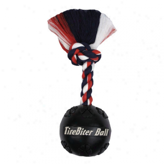 Mammoth Pet Products Tire Biter Ball With Rope Dog Toy In Black