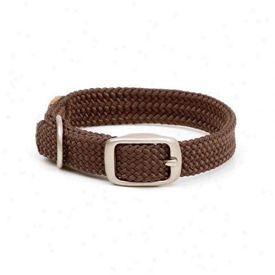Mendota Deceitful Braid Junior Collar In Brown / Brushed Nickel Hardware
