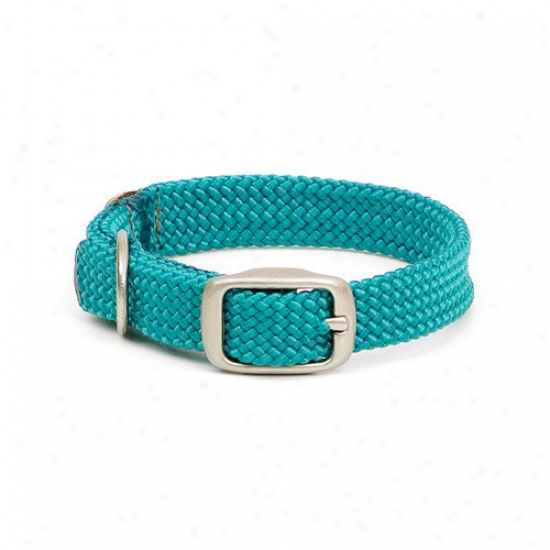 Menota Double Braid Junior Collar In Teal / Brushed Nickel Hardware