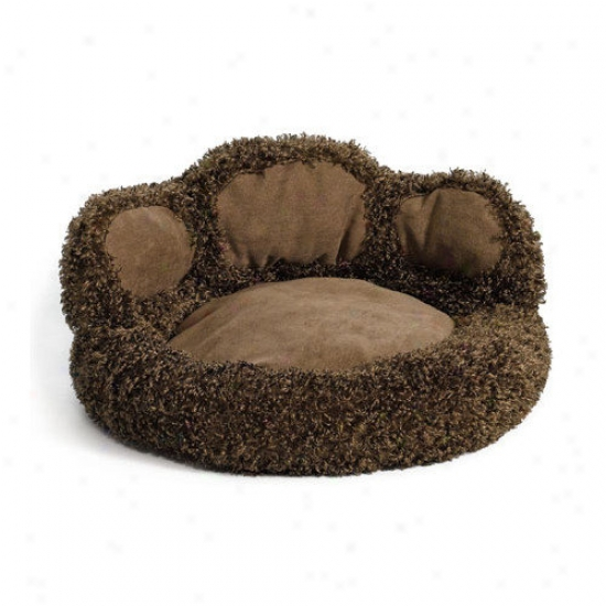 Midwest Homes For Pets Quiet Time Boutique Paw Dog Bed Witu Comfy Bolster And Faux Suede Paw Pads In Brown