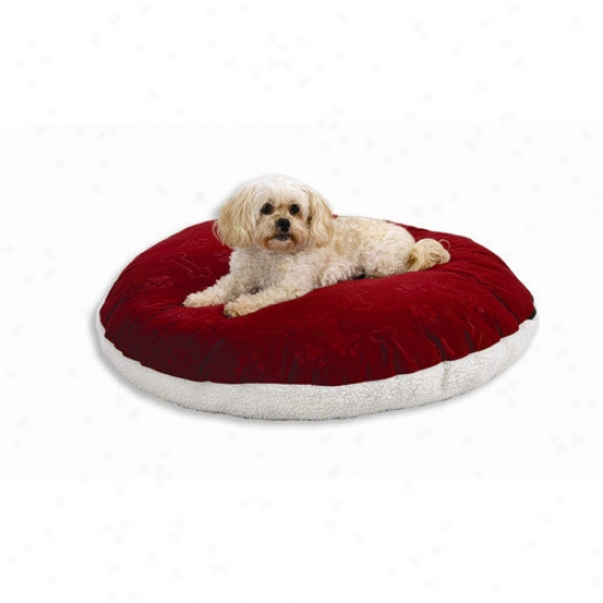 Midwest Homes For Pets Quiet Time E'sensuals Synthetic Sheepskin And Poly-cotton Encased Extra Stuffed Polyfiber Pillow Round Dog Bed