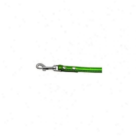 Mirage Pet Products 10-02 12ldegm . 38 Inch  - 10mm Metallic Two Row Collar Emerald Green . 50 Inch  Leash