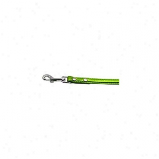 Mirage Pet Products 10-02 34ldlgm . 38 Ich  - 10mm Metallic Two Row Collar Lime Green . 75 Inch  Leash