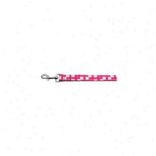 Mirage Fondling Products 125-011 1006bpk Diagonal Dots Nylon Collar  Bright Pink 1 Spacious 6ft Lsh