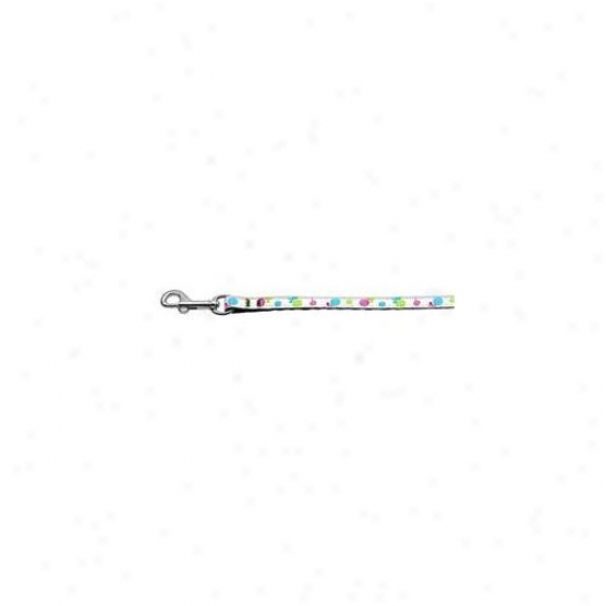 Mirage Pet Products 125-018 3806wt Lollipops Nylon Ribbon Leash White . 38 Wide 6ft Long
