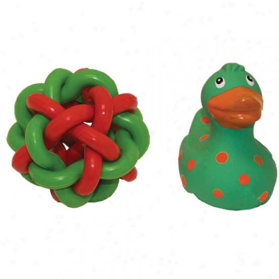 Multipet Holiday Green Duck With Nob Wob, 2-pack