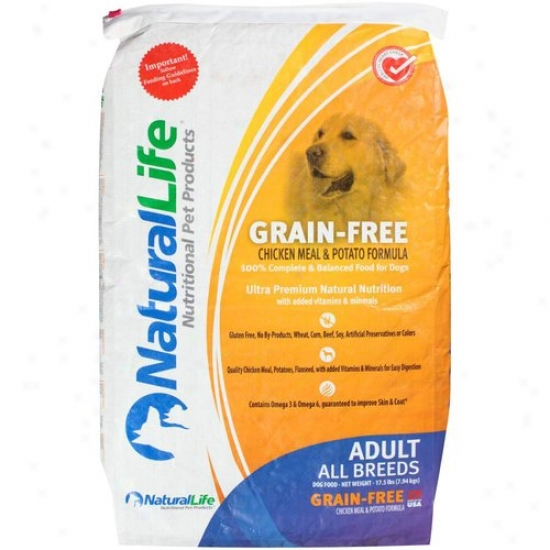 Natural Life Grain-free Dog Aliment, Chicken Meal And Potato Formula, 6.5 Lb