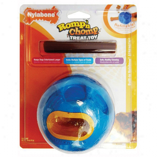 Nylqbone Romp-n-chomp Caoutchouc Ball With Treat Dog Toy