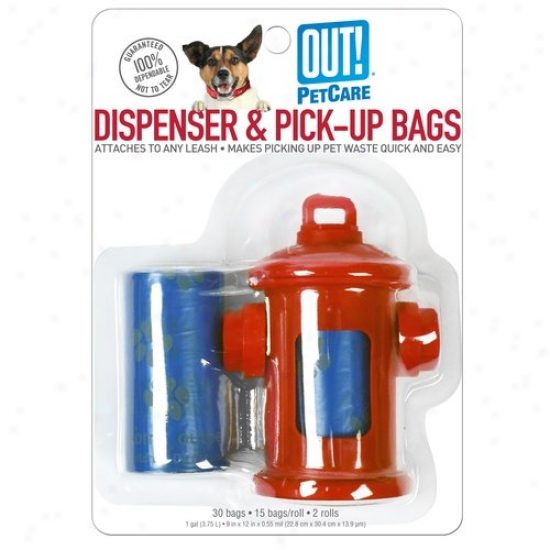 Out! Fire Hydrant Dispenser And Pick-up Bags, Red