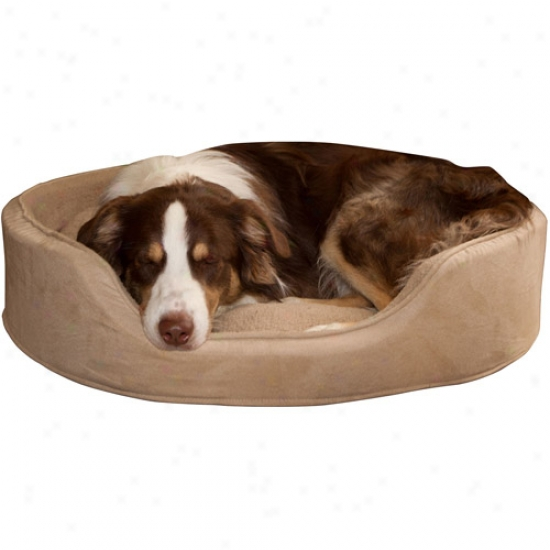 Paw Cuddle Round Suede Terry Pet Bed, Clay