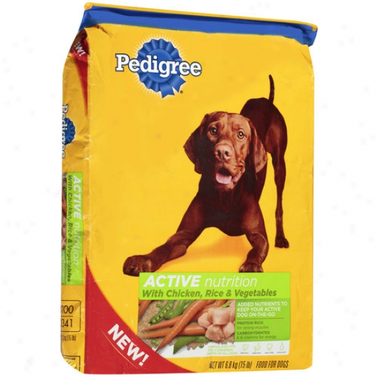 Pedigree Active Nutrition Dog Food With Chicken, Rice & Vegetables, 15 Lbs