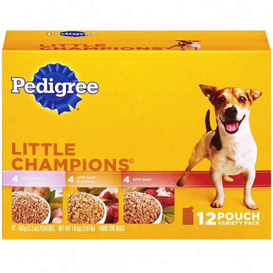 Pedigree Little Champions 12 Pouch Variety Pack Dog Food With 4 Beef, 4 Chicken, 4 Beef And Chicken, 3.97 Lb