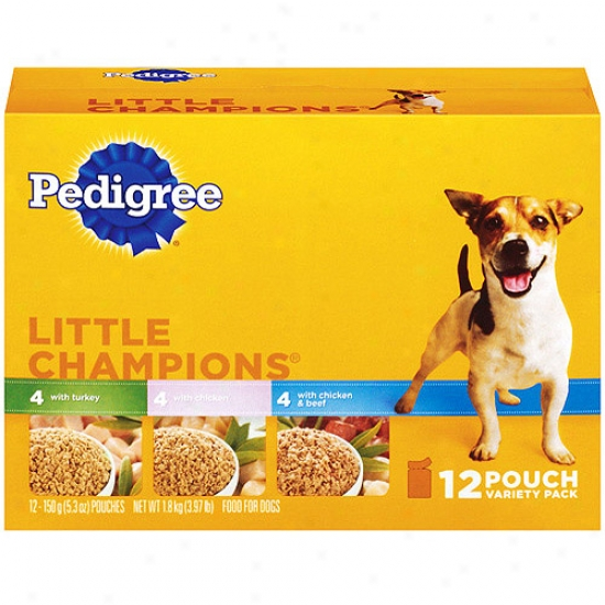 Pedigree Little Champions 12 Pouch Variety Pack Dog Food With 4 Chicken, 4 Turkey, And 4 Chicken And Beef, 3.97 Lb