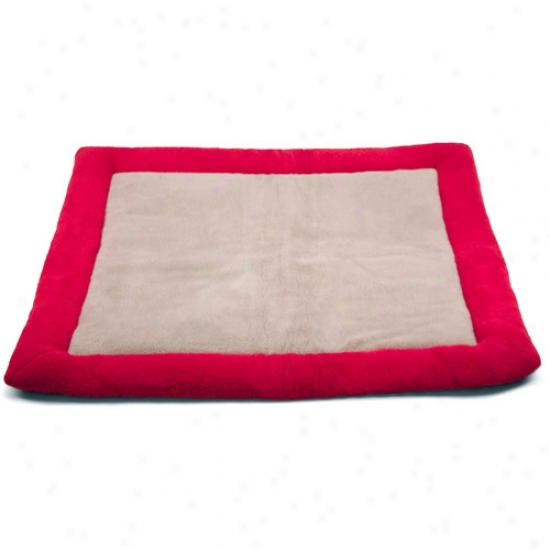 """Pet Bed Plush Mat, 39""""w X, 43""""l, Red/cream"""