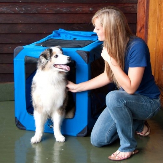 Pet Mechanism Portable Soft Crate-36 Inches-blue