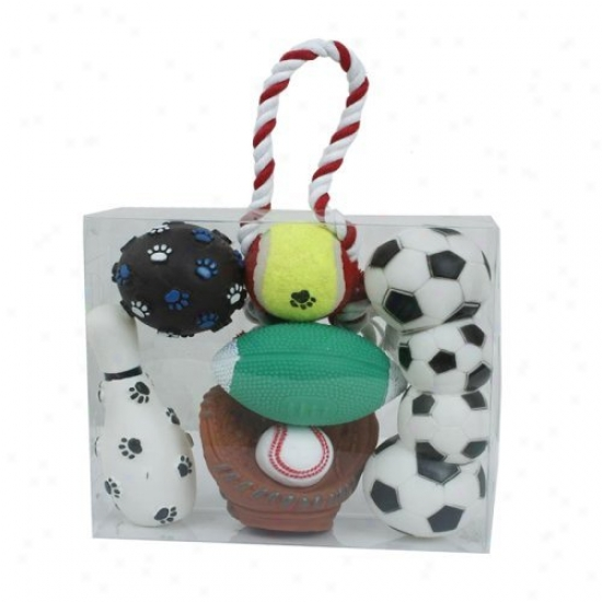 Pet Life 5-piece Sports Themed Dog Toy Stake