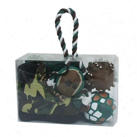 Pet Life 6-piece Hunter Camouflage Themed Dog Toy Set