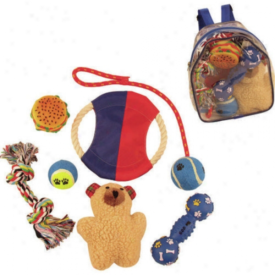 Pet Life 8 Piece Backpack Favorite Toy Group
