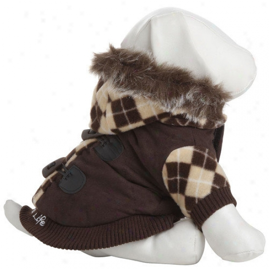 Pet Life Designer Patterned Ooze Dog Jacket With Removeable Hood In Brown