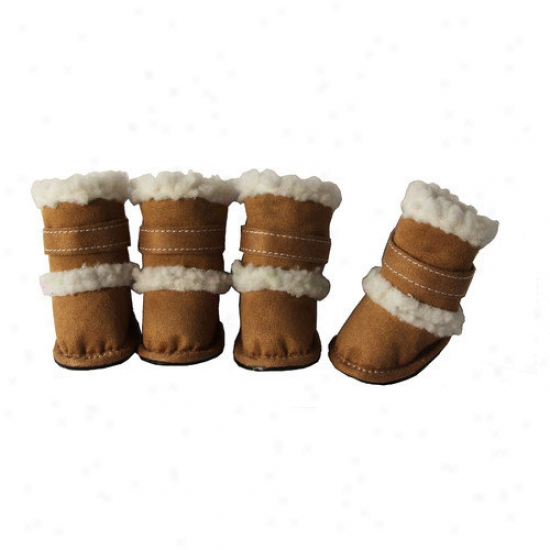 Pet Life Duggz Snuggly Shearling Dog Boots In Brown And White