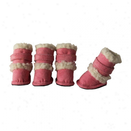 Pet Life Duggz Snuggly Shearling Dog Boots In Pink And Of a ~ color