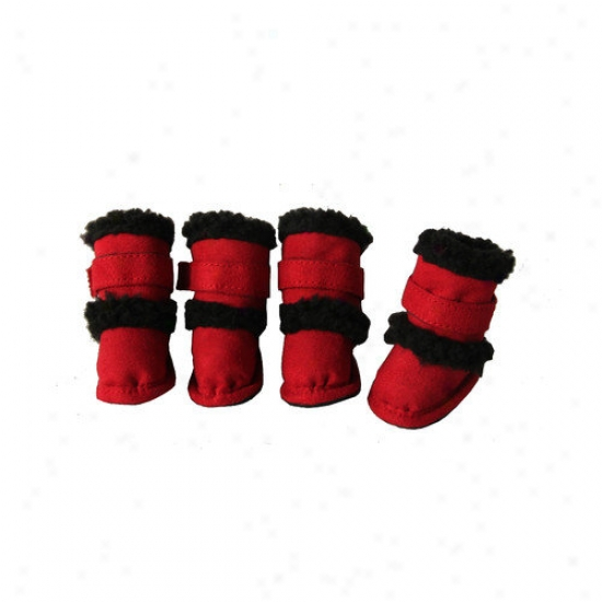 Pet Life Duggz Snuggly Shearping Dog Boots In Red And Black