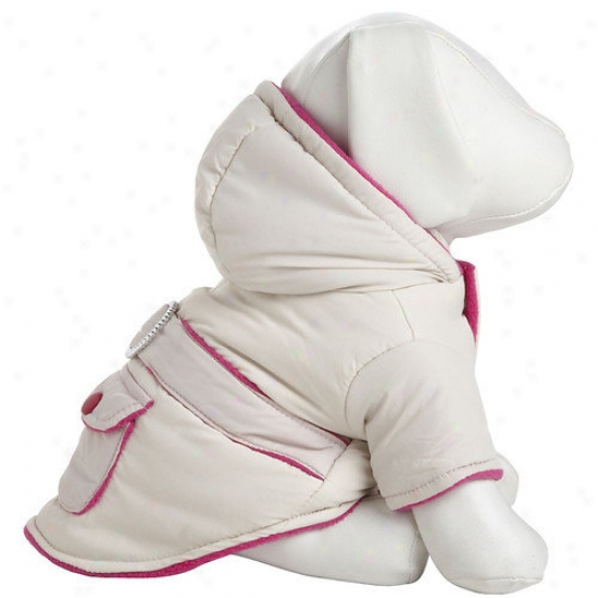 Pey Life Two-gone Jewel Dog Jacket With Hood In Beige / Pink
