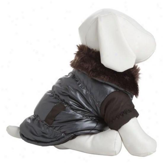Pet Life Ultra Fur Collar Metallic Jacket - Brown