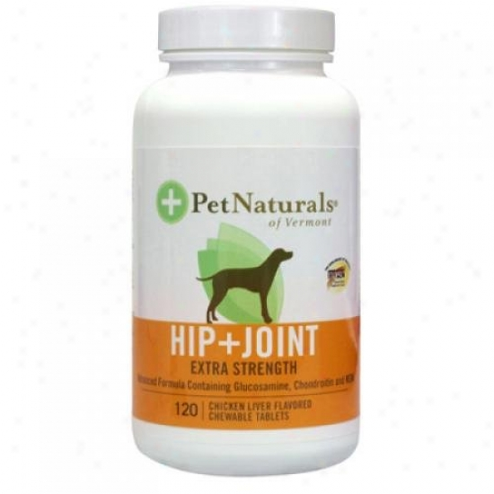 Pet Naurals Of Vermont Hip And Joint Extra Strength For Dogs Chicken Liver 120 Chewables