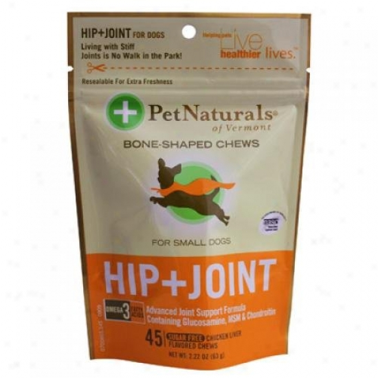 Pet Naturals Of Vermont Hip And Joint For Little Dogs Chicken Liver 45 Sot Chews