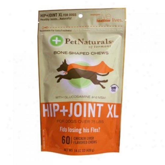 Pet Naturals Of Vermont Hip And Joint Xl Chews For Dogs Over 75 Lbs Chicken Liiver 60 Chewables
