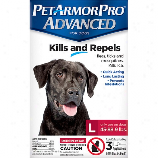 Petarmorpro Advanced Flea, Tick And Mosquito Topical Solution For Dogs 89-132 Lbs, 3 Count