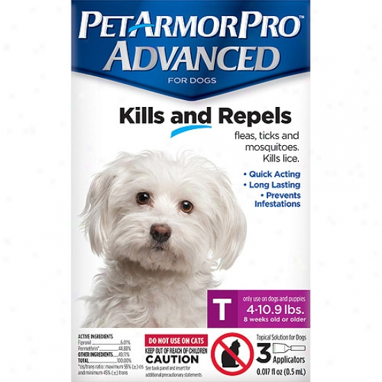 Petarmorpro Advanced Flea, Tick And Mosquito Topical Solution For Dogs 4 To 10.9 Lbs, 3 Count