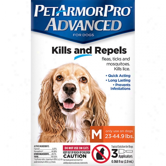 Petarmorpro Advanced Flea, Tick And Mosquito Topical Solution For Dogs 23-44.9 Lbs, 3 Count