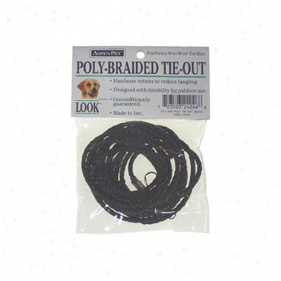Petmate Aspen Pets Poly Braidde Tie Out In Black