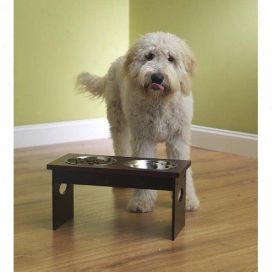 Petrageous Designs Mahogany Elevated Dog Feeder With Stainless Steel Bowls