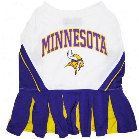 Pets First Min-40071 Minnesota Vikings Cheerleader Dog Dress Xtra Small