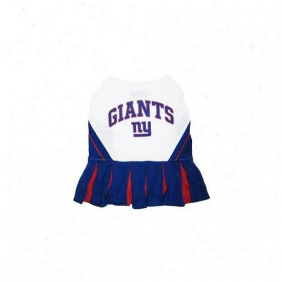 Pets First Nygclo-m New York Giants Nfl Dog Cheerleader Outfit - Medium