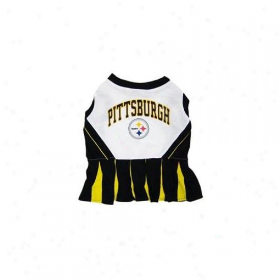 Pets First Pstclo-xs Pittsburgh Steelers Nfl Dog Cheerleader Outfit - Additional Small