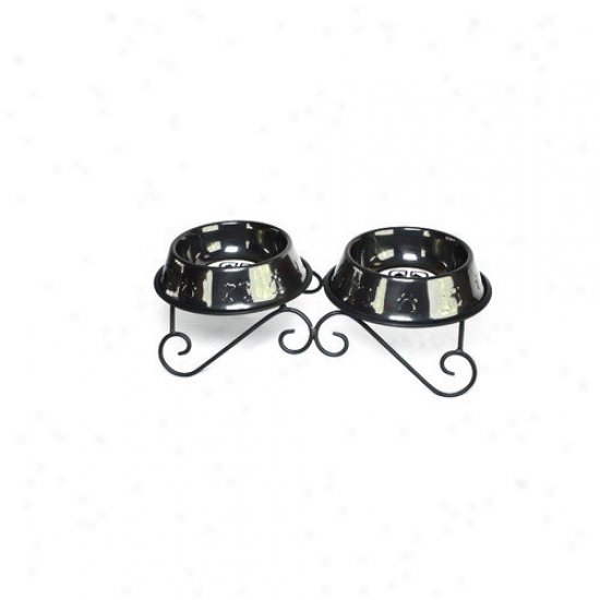 Platinum Pets Double Diner Dog Stand With 2 Boowls In Black Chrome