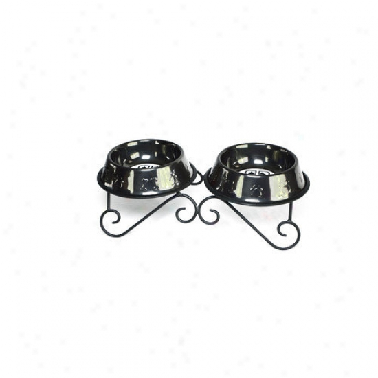 Platinum Pets Doubling Diner Dog Stand With 2 Bowls In Black