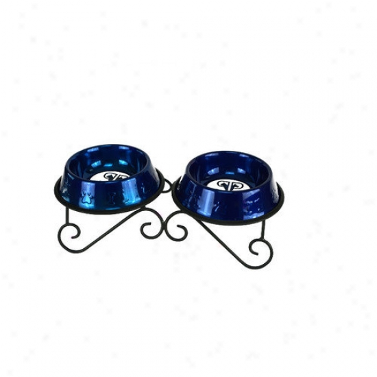 Platinum Pets Double Diner Dog Stand With 2 Bowls In Blue